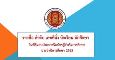 รายชื่อ ลำดับ เลขที่นั่ง นักเรียน นักศึกษา  ในพิธีมอบประกาศนียบัตรผู้สำเร็จการศึกษาประจำปีการศึกษา 2563